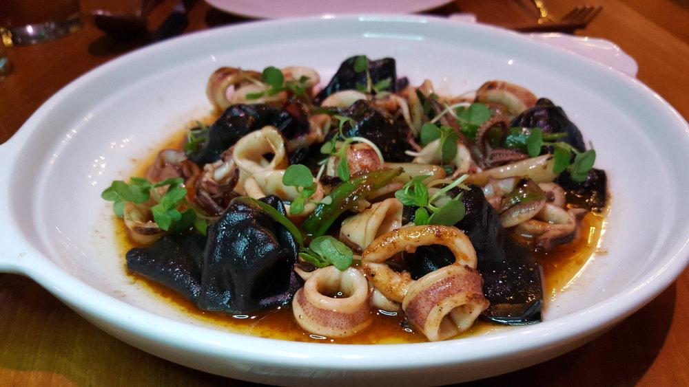 Pork &G arlic Chives Wonton served with Monterey Squid