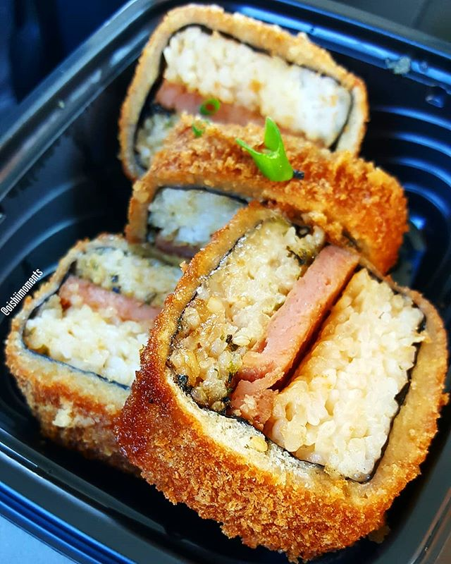 Fried spam musubi! Surprisingly it was just okay for me. Forgot to take a picture but their chicken katsu and ginger opakapaka were much more enjoyable! Talk about huge portions... 😍😄