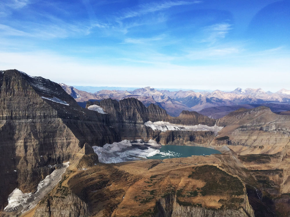 A view of Glacier National Park from a helicopter. A pricey but oh-so-worth-it experience.