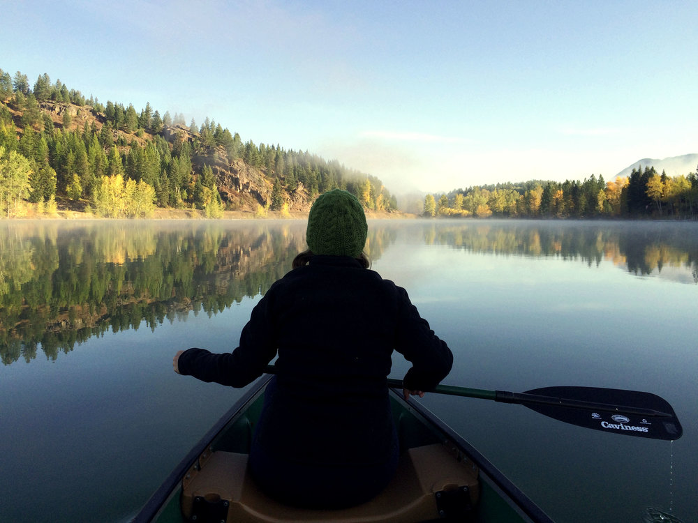 A morning paddle is always a good idea.Lake 5, East Glacier.