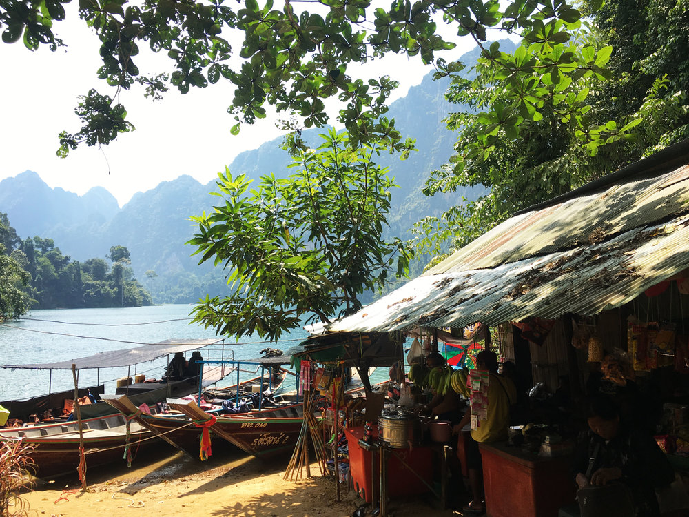 Market on an island in the middle of Khao Sok National Park.