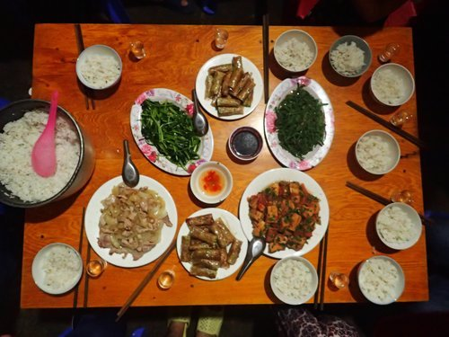 Delicious dinner that our home stay family made
