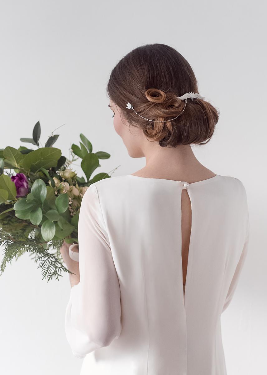 Crédit photo : Geneviève L Reid Photography | Robe : Boutique Lustre | Bouquet : Oursin Fleurs | MUA : Stéphanie Guida | Coiffure : Kelsey Boisvert