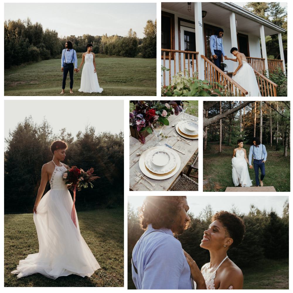 B O H O   Lieu / Venue  La Maison Boheme   Photographe/Photographer  Naomie Houle Photographie   Fleuriste / Florist    Hellébore creations florales   Gateaux/Cake  Cupkate & Co.   Robe / Dress  Dream it yourself boutique   Bijoux  Eugenie Bee   Maquillage+Coiffure / Hair & MUA  Mademoiselle Panka