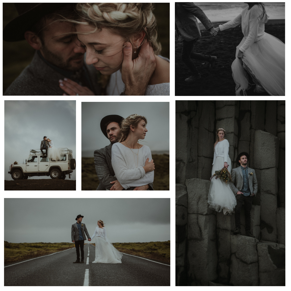 I C E L A N D   Lieu / Venue Vik, Iceland  Photographe/Photographer  Gabrielle Desmarchais   Video  Beau-Vidéo   Planification and stylisme / Planning & Styling  Le Coeur Bohème   Fleurs/Flowers  Hellébore Créations Florales   Robe / Dress  Dream it yourself boutique   Bijoux / Jewelry  Eugénie Bee   Papeterie / Paper goods  Acetate la boite   Chemise / Shirt  Atelier Baratin   Chapeau /Hat  Blackburn & Raymond