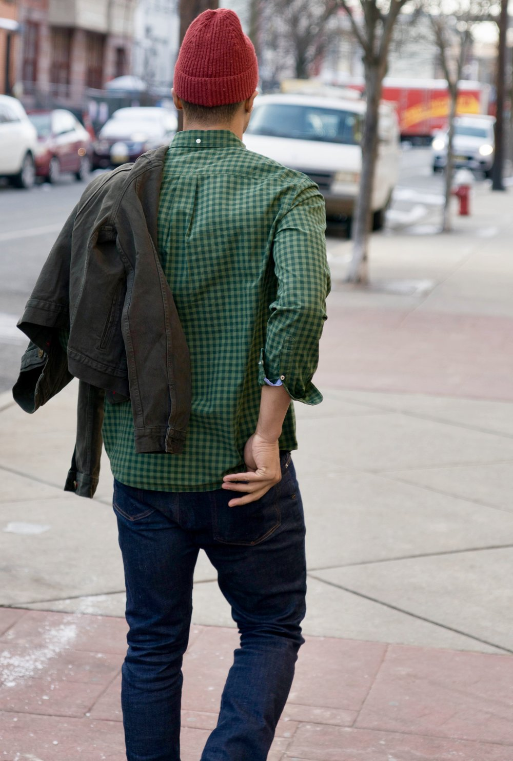 Dress It Up or Dress It Down - Men's Classic Fit Casey Check Print & Men's Garment Dyed Denim Jacket