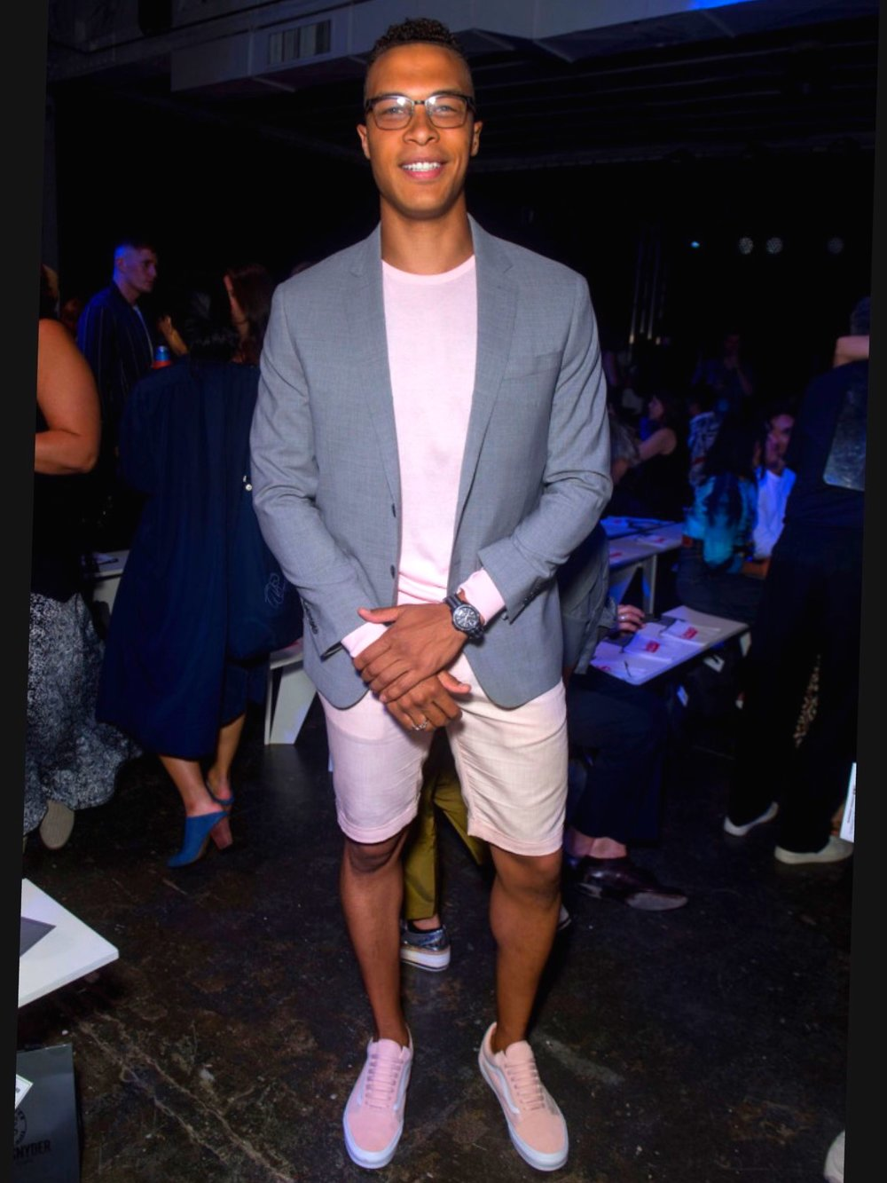 Subtle Statement - At the Todd Snyder SS19 Runway Show in pink sweater, linen shorts and a custom Todd Snyder BlazerFootwear : Pink Vans