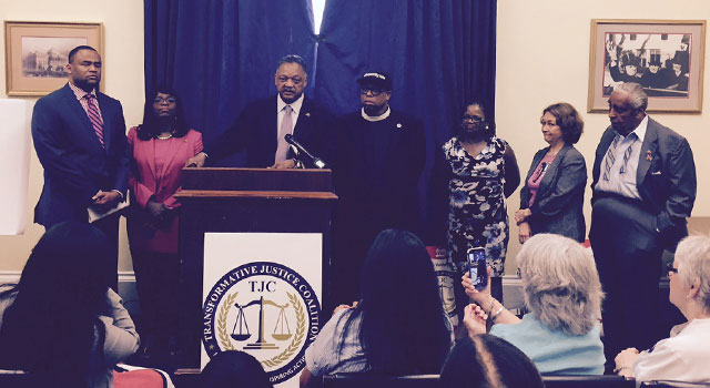 June 23 voting rights press conference; Rep. Veasey, (D-Texas), Rep. Sewell, (D- Alabama) Rev. Jesse Jackson, Rainbow -- PUSH, Rev. Lennox Yearwood, Hip Hop Caucus, Barbara Arnwine, chair of the Voting Rights Alliance, Terry O'Neill, National Organization For Women and Rep. Charles Rangel (D-New York). (Photo: Ben Ptashnik)