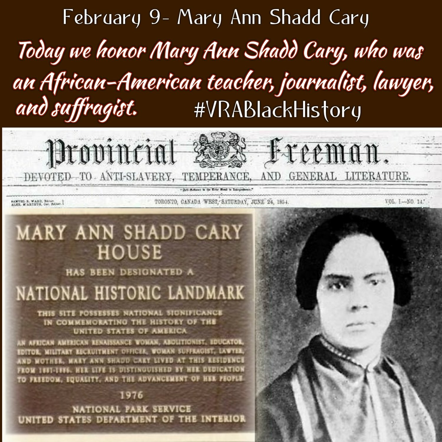 February 9 2017 Mary Ann Shadd Cary 1823 1893 Vrablackhistory The Voting Rights Alliance