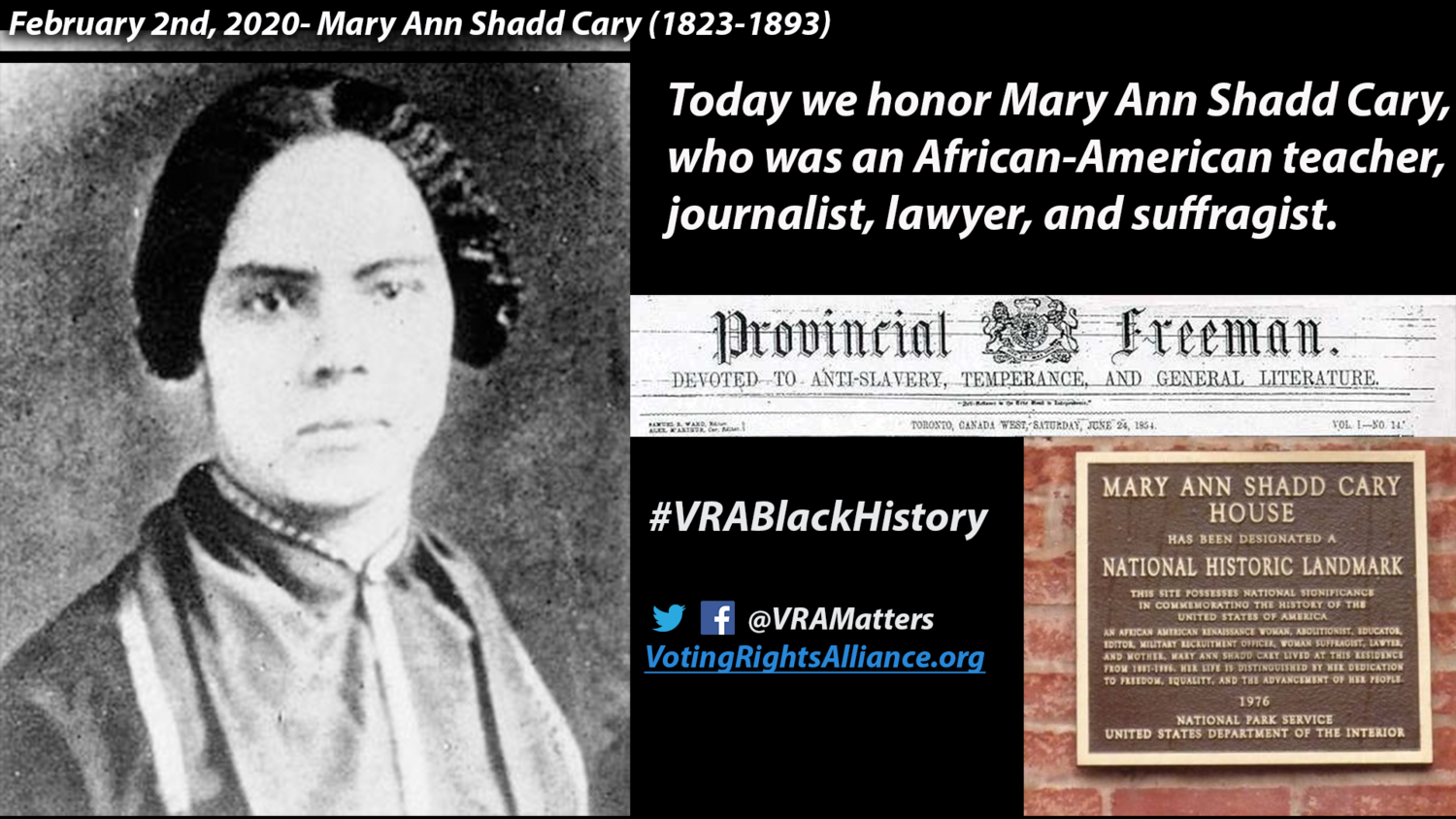 February 2 Mary Ann Shadd Cary 1823 1893 The Voting Rights Alliance
