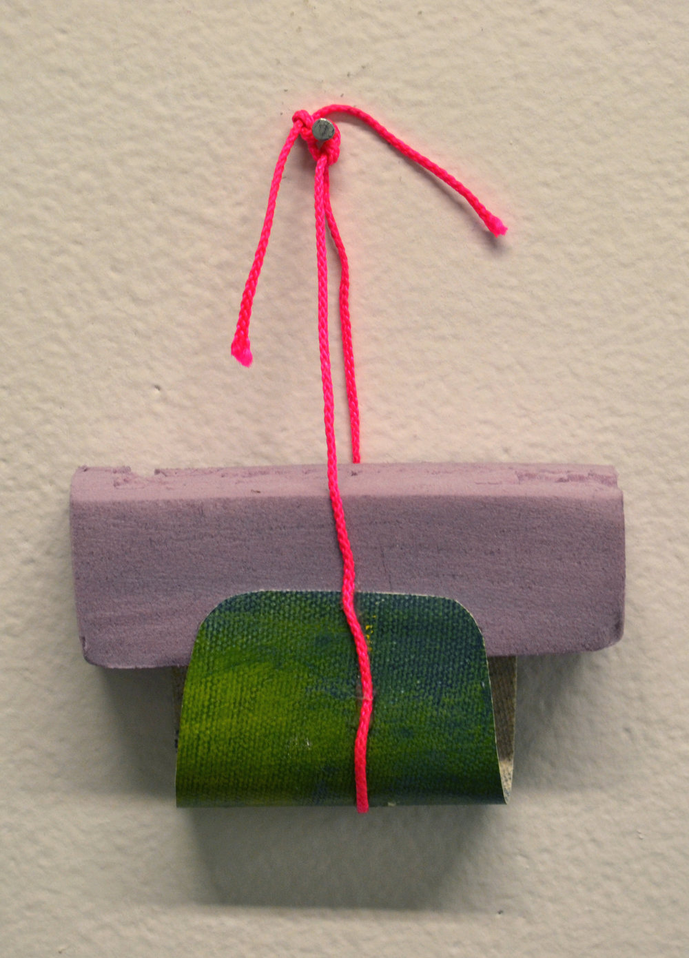Insulation foam board, oil on canvas, and plastic cord.