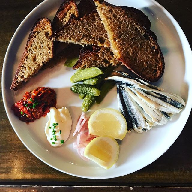 Boquerones Plate at @curenola (not pictured, the most delicious Last Word cocktail). #noladining #tinyfish #shooteatrepeat #anchovies #barfood #neworleans
