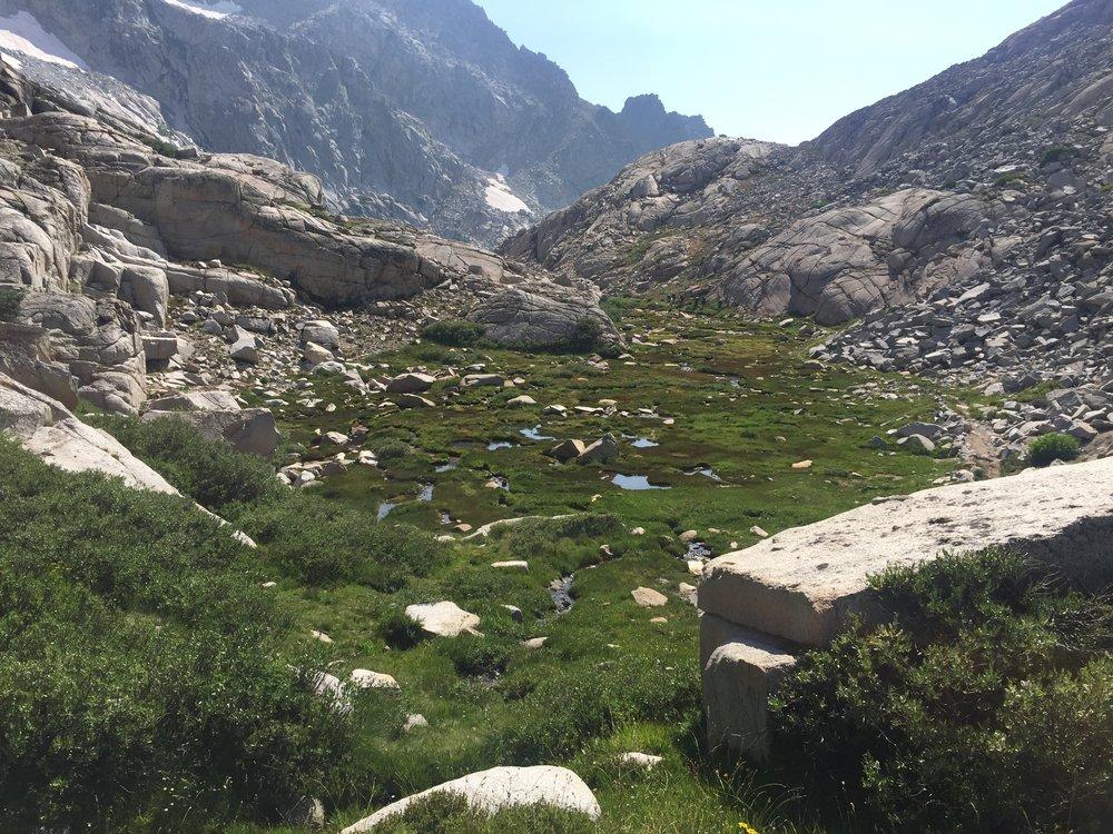 Alpine scenery descending from Kaweah Gap