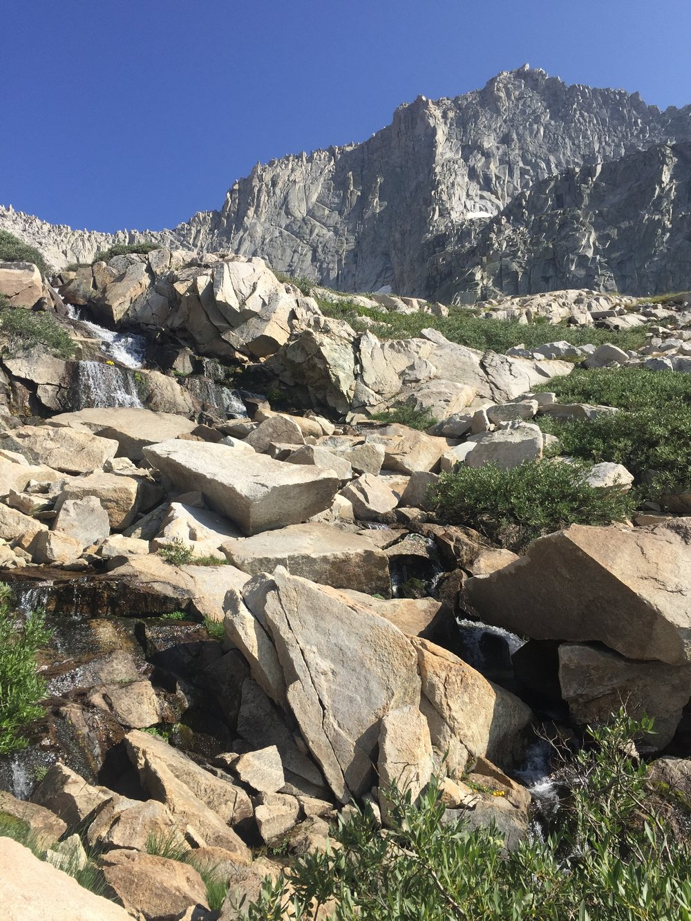 Looking back at the water that flows from Precipice down to Hamilton Lake