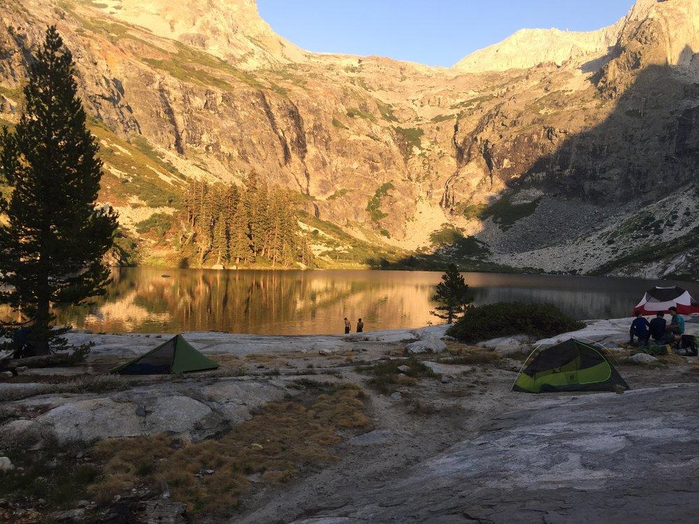 Setting up camp at Lake Hamilton