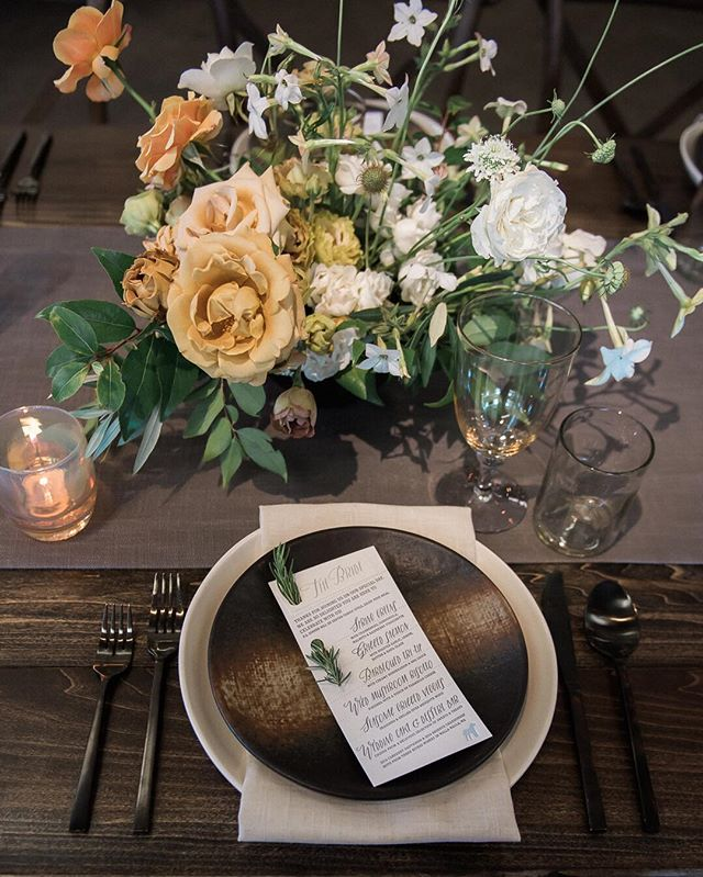 "All about the details... from the polished copper utensils and complimenting stoneware to the linen runner and the ""wild flower"" arrangements. Rustic yet elegant. Perfection! More of this rustic farm wedding on my journal. www.staceypentlandphotography.com/modern-farm-wedding"