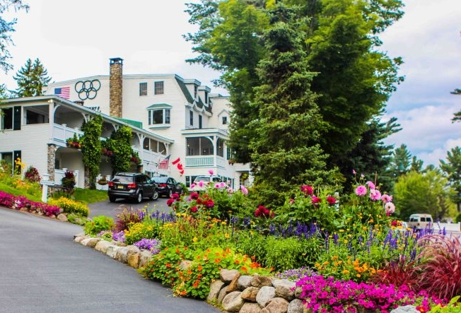 Gardens at the entrance to the Mirror Lake Inn, Lake Placid, New York.