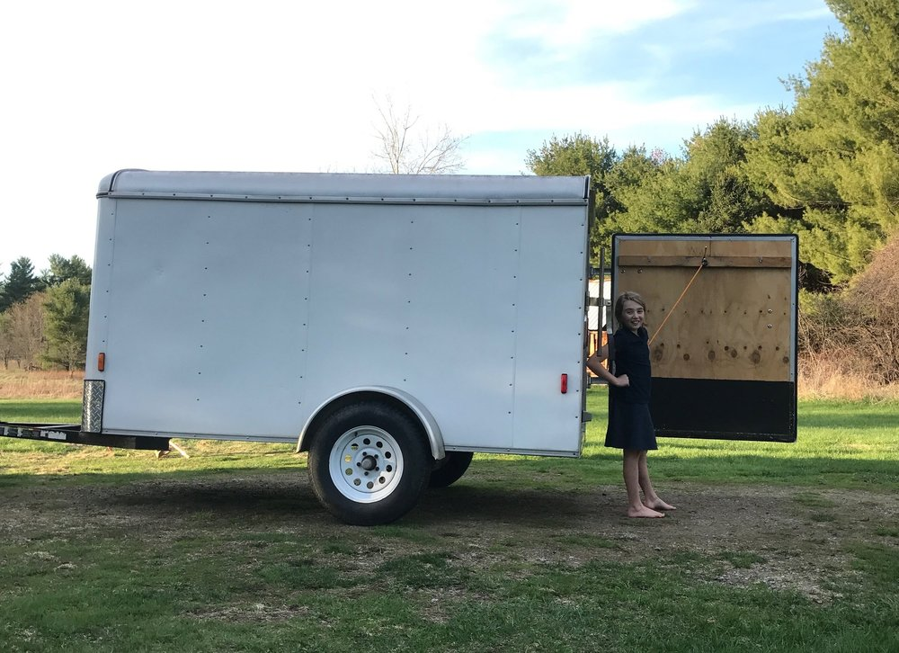 It looks like a trailer, but it will be a portable walk-in cooler soon! And- it needs a clever silly name. Please share ideas in the comments!