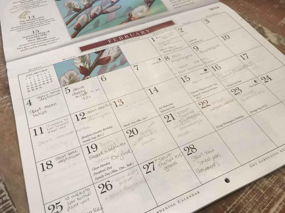 We start the old fashioned way. Paper calendar from The Old Farmer's Almanac, pencil, and a big eraser!