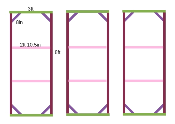 Flower wall construction diagram. Built with standard 1x4inch pine boards.