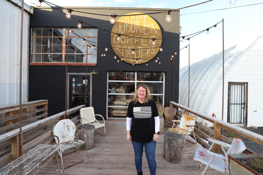 Kristal Flury on deck at Hoboken Coffee in GuthrieAmerica
