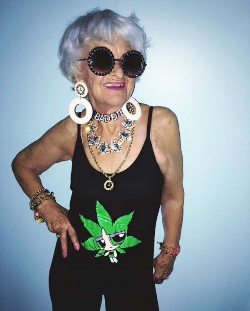 "Grandma Helen Ruth Van Winkle aka Baddie Winkle. Giving no fucks about ""age appropriate"" clothing choices!"