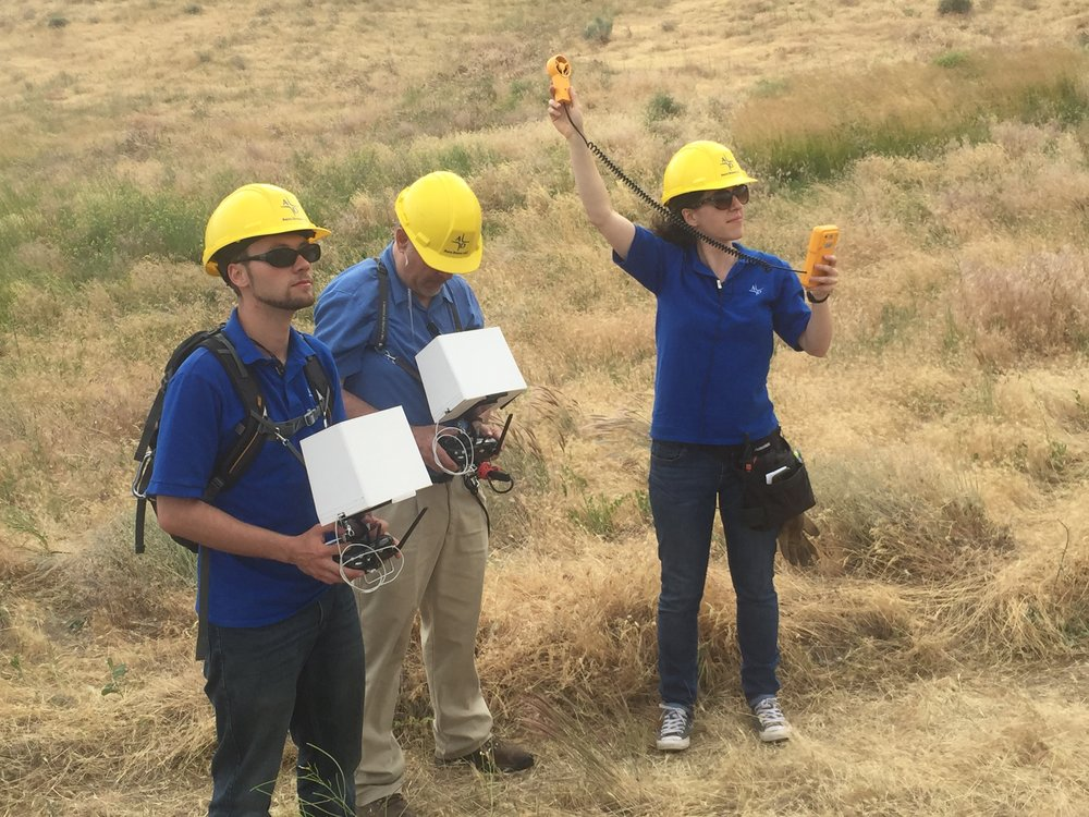 Members of the Aero Drone team on the job. From left to right: Pilot, Camera Operator, and Visual Observer/Field Manager.