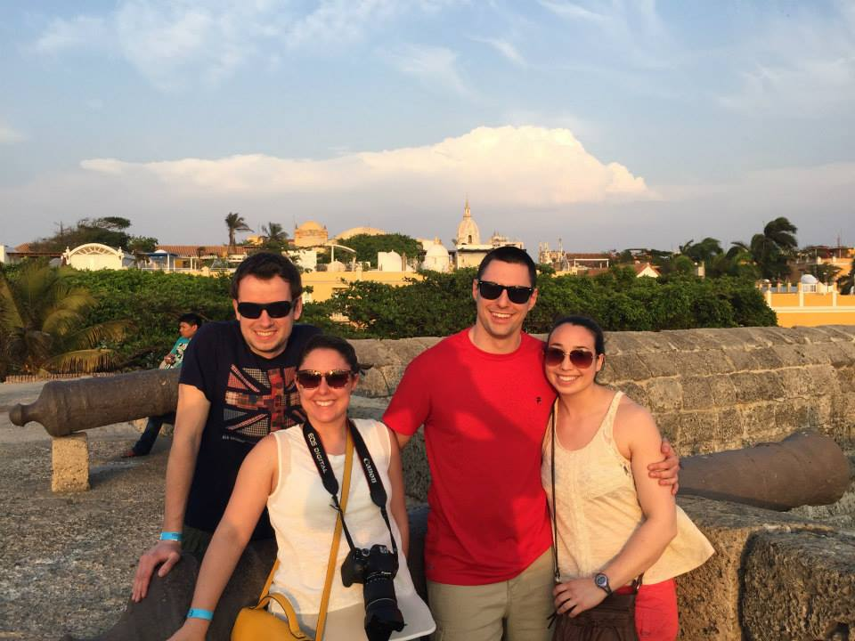 """Enjoying the """"Old City"""" in Cartagena. The canons and thick wall protected the city from enemies centuries ago."""