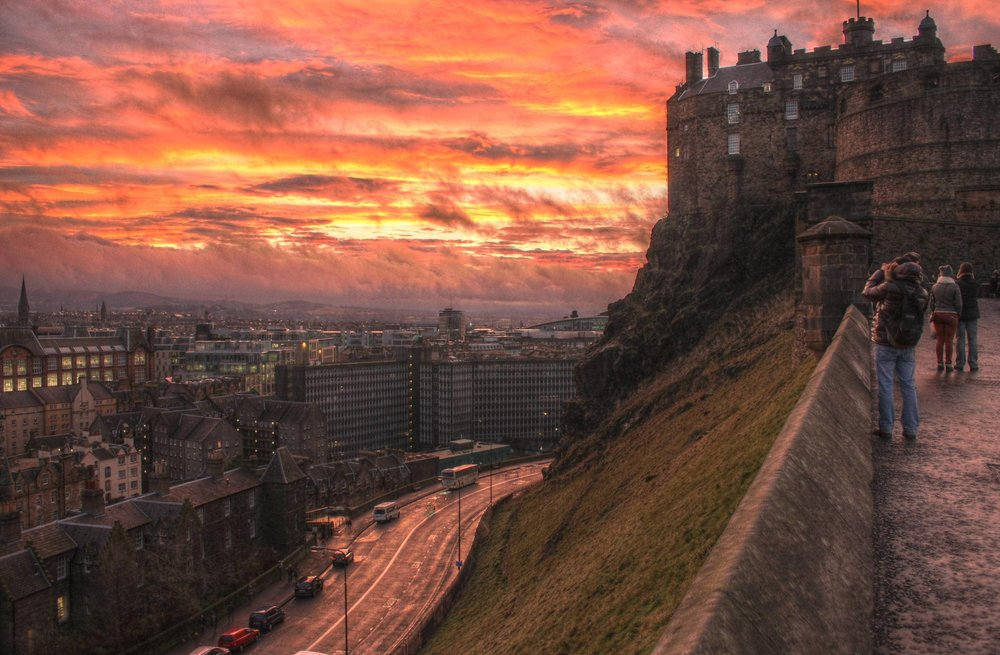 The view of Edinburgh, Scotland from Edinburgh Castle.