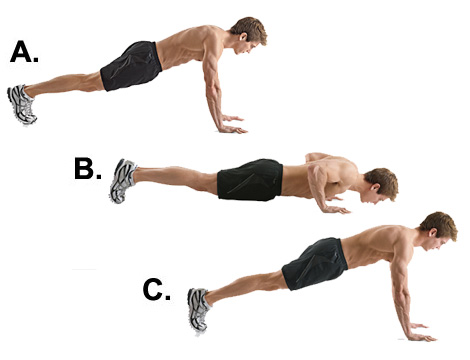 Good push-up technique! Arms are kept tight to the body, protecting shoulders from injury.