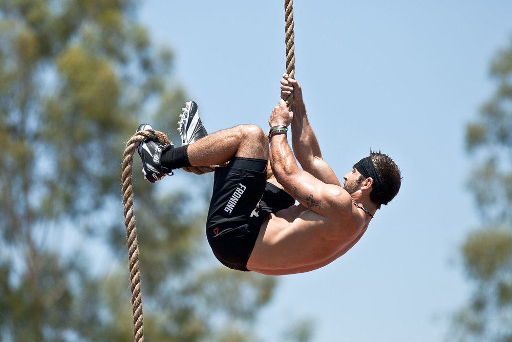 After a rope climb event prevented a CrossFit Games victory for Rich Froning in 2010, he worked on his rope climb technique so that would NEVER happen to him again. He now completes his rope climbs in 1-2 'pulls' maximum. That's a lot of  LEG WORK !