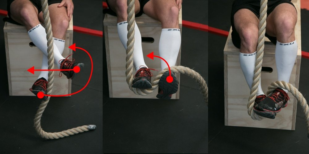 Notice how he is clamping down on his FOOT and not on the rope in picture 3. This will allow you to stand up without the rope slipping!