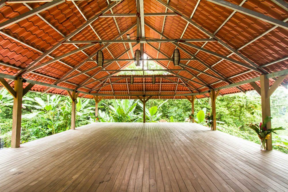 The Outdoor Yoga Studio at Cashew Hill Jungle Lodge overlooking the Caribbean Sea in Puerto Viejo, Costa Rica. Yoga, breakfast, lunch, and all activities are included!