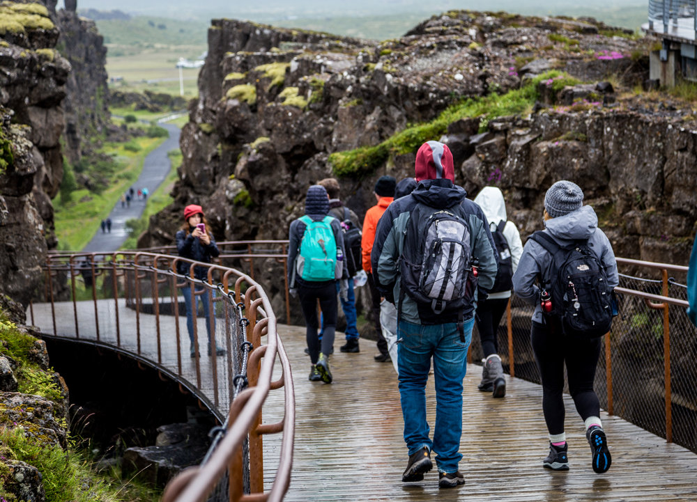Lots of English tourists throughout some of Iceland's most famous attractions
