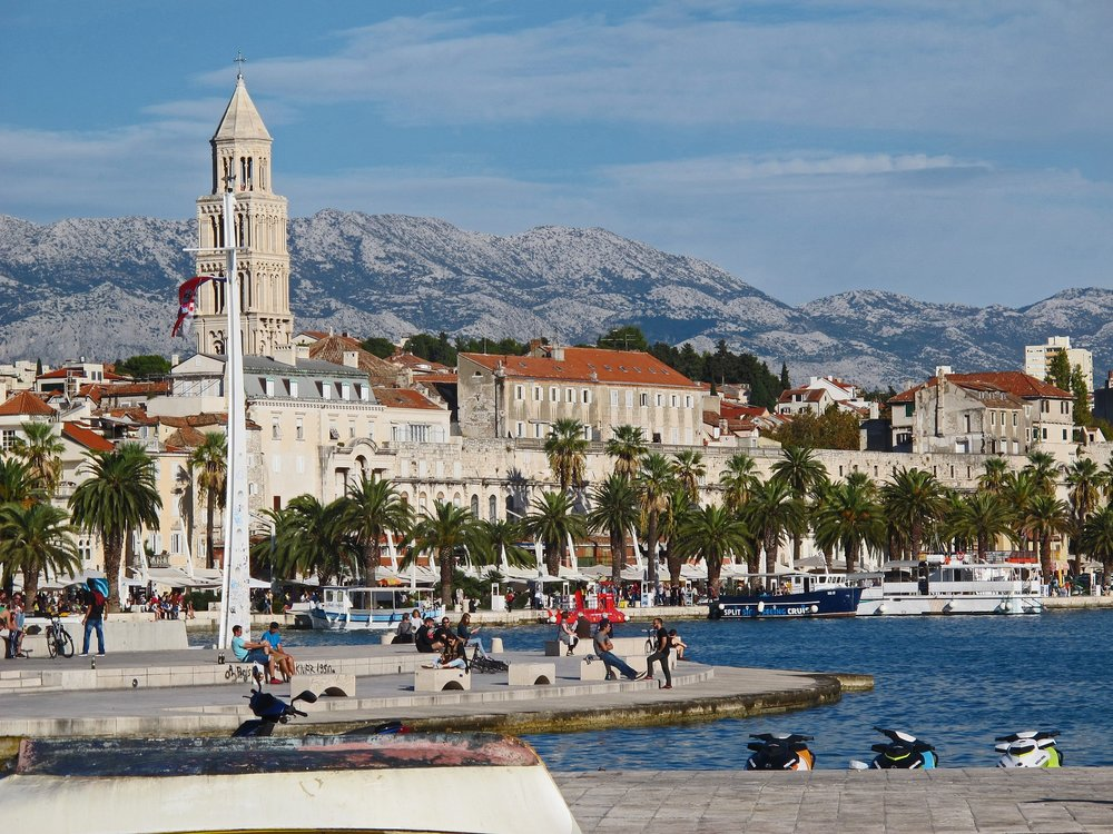 A view of Split, Croatia's riverfront and Diocletian's Palace in the background
