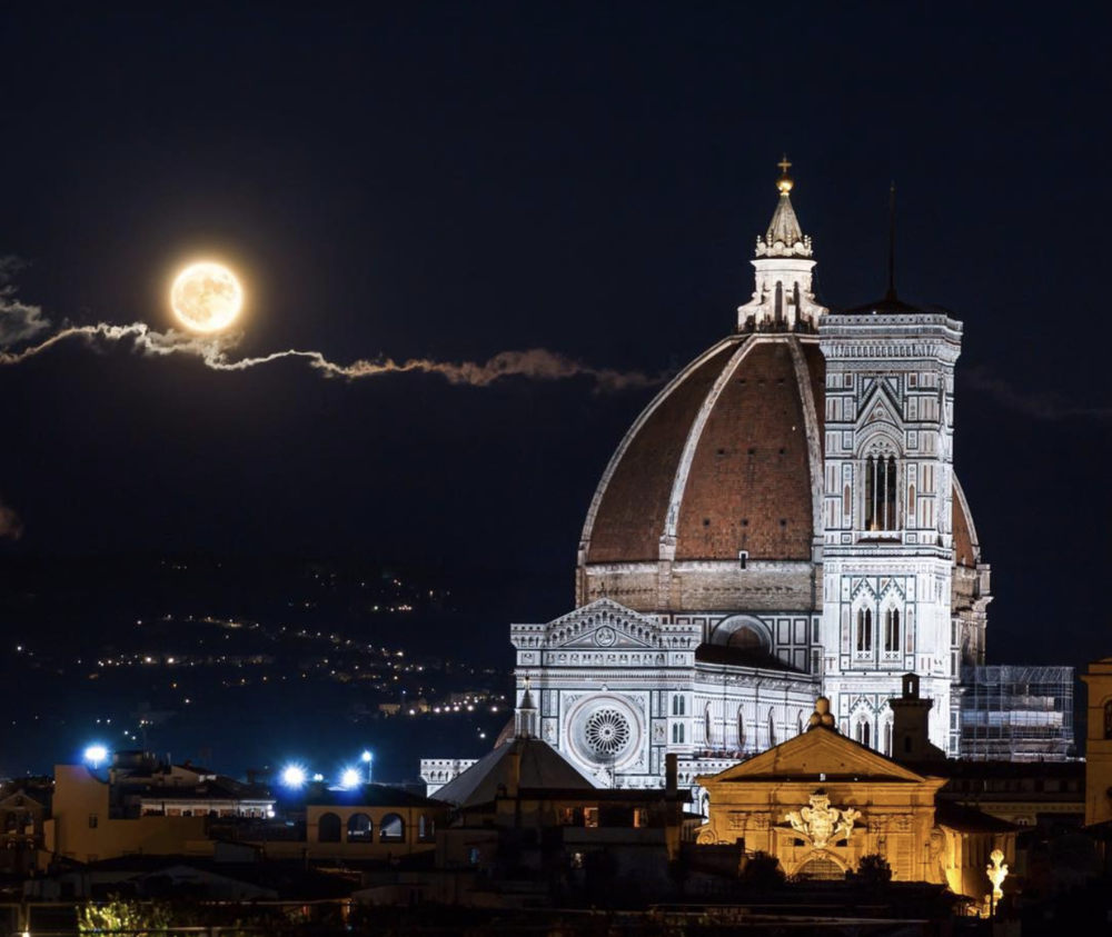 The Supermoon rises above The Cathedral of Santa Maria del Fiore, Florence, Italy