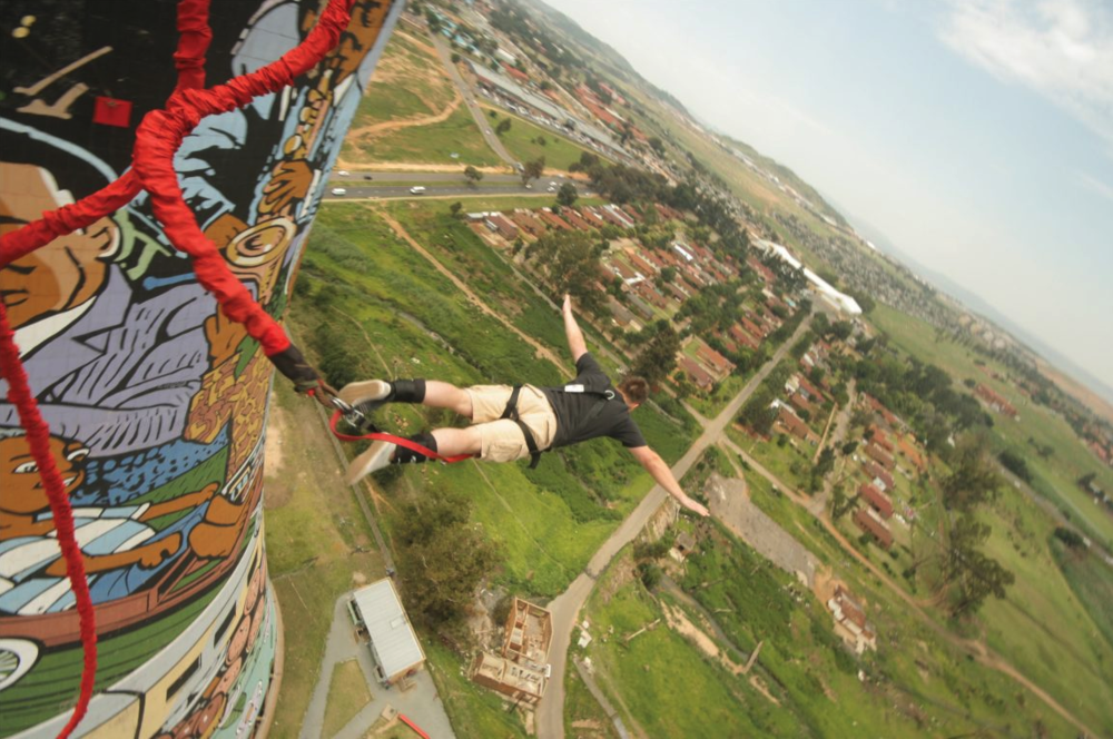Bungee jump at the Orlando Towers in Soweto, SA