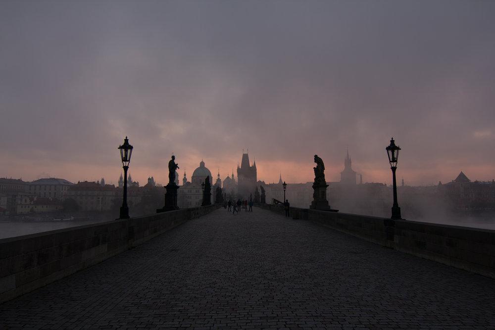 The Charles Bridge in Prague, CZ at sunrise