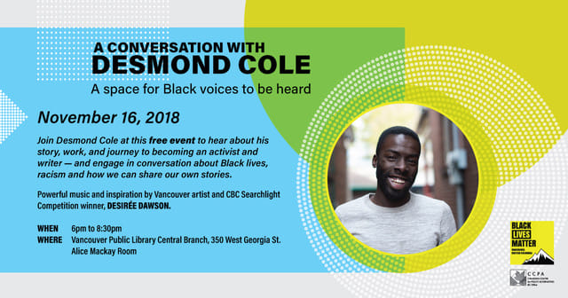 Desmond Cole talk at Canadian Centre for Policy Alternatives BC - facebook advert - Nov 2018.jpg