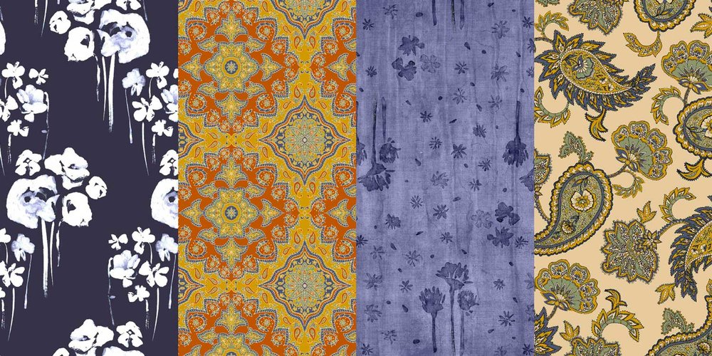 A collage of textile designs, sumi-e ink floral design, paisley, global ornamental print, fashion apparel, home decor
