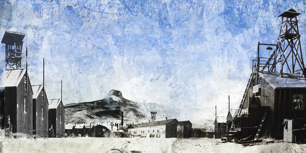 DIGITAL BACKGROUND : SUMMER DAY AT HEART MOUNTAIN RELOCATION CAMP