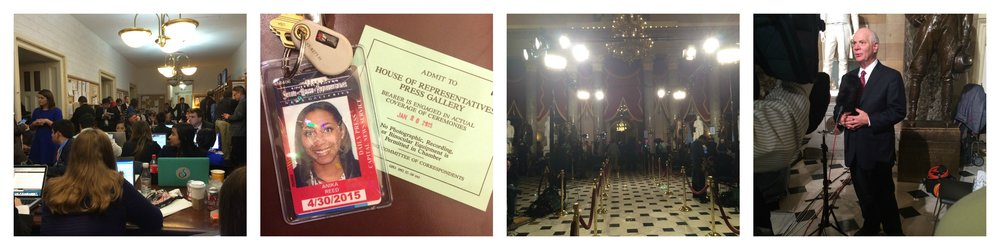 From L to R: The House Press Gallery pre-SOTU, my press badge and ticket to the SOTU, Statuary Hall pre-SOTU, Sen. Ben Cardin giving remarks after the SOTU