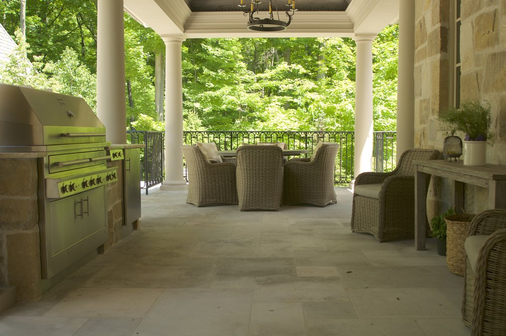 An image of stone patio barbeque by Parkscape Ltd.