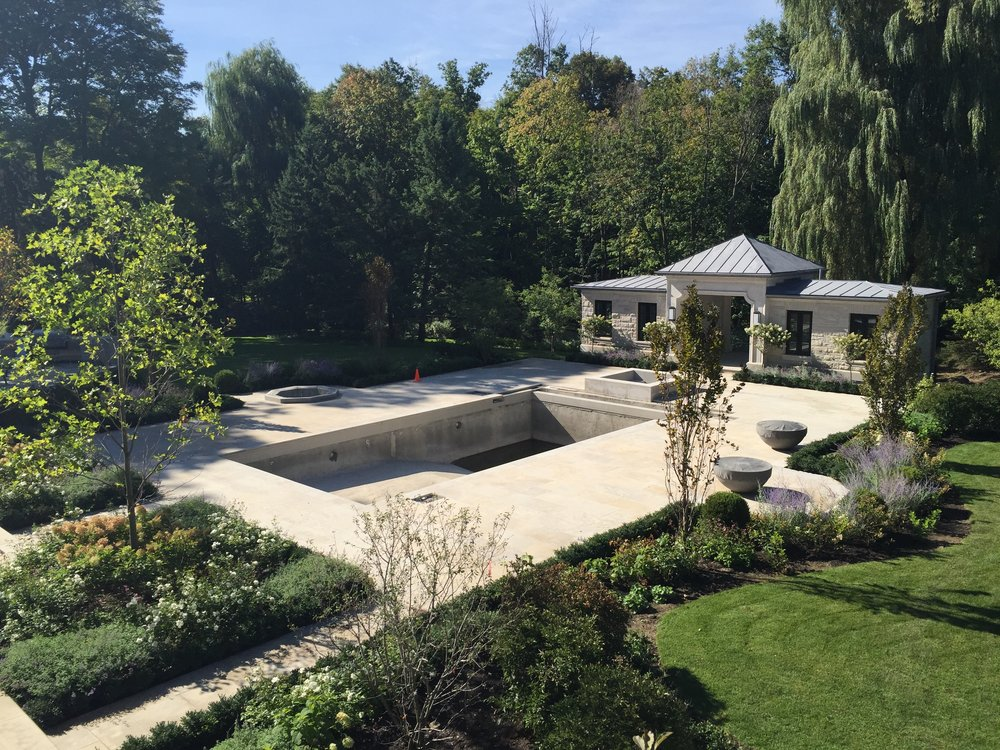 hornbeams, annuals, stone driveway, flagstone, gates, toronto, groundcover, boxwood, parkscape, landscaping