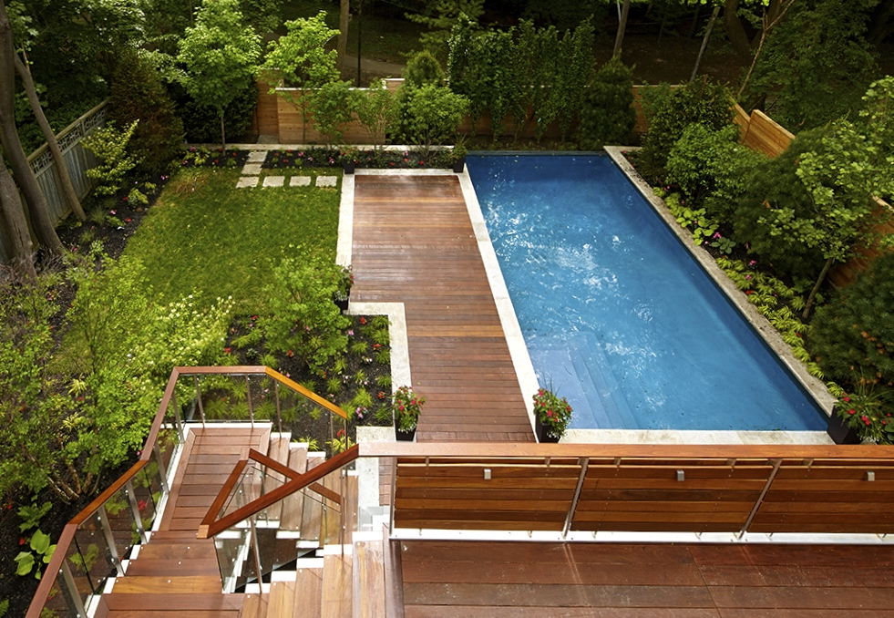 ipe decking, parkscape, custom, planting, betz pools, stonework, cedar fencing, glass railing, forest hill