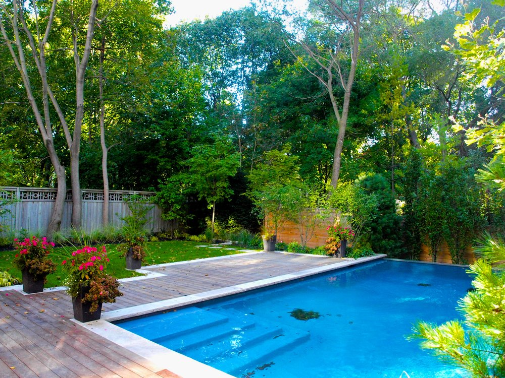 ipe decking, parkscape, custom, ornamental grasses, stepping stones, planting, betz pools, stonework, cedar fencing, glass railing, forest hill