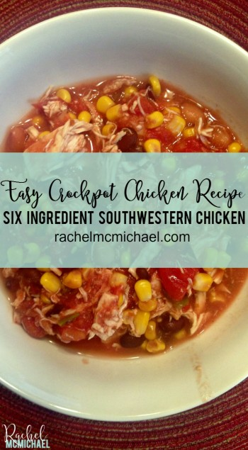 This Southwestern Slow Cooker Chicken Recipes is perfect for the busy mom... six ingredients and little-to-no prep time. It's a huge hit with the whole fam!