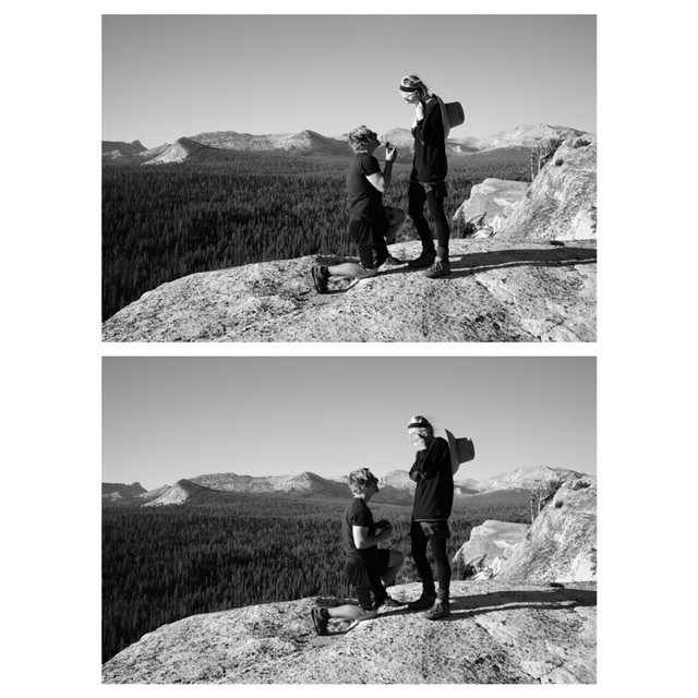 The actual moment of the proposal:   Tuolumne Meadows, Yosemite National Park, California