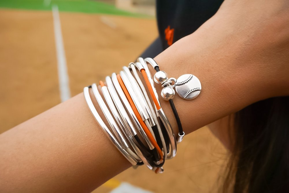 San Francisco Giants themed Lizzy James wrap! Simply add this   Baseball Charm  shown on  Lizzy Silverplate Classic 4 Strand in Orange Black and Cream Leather.