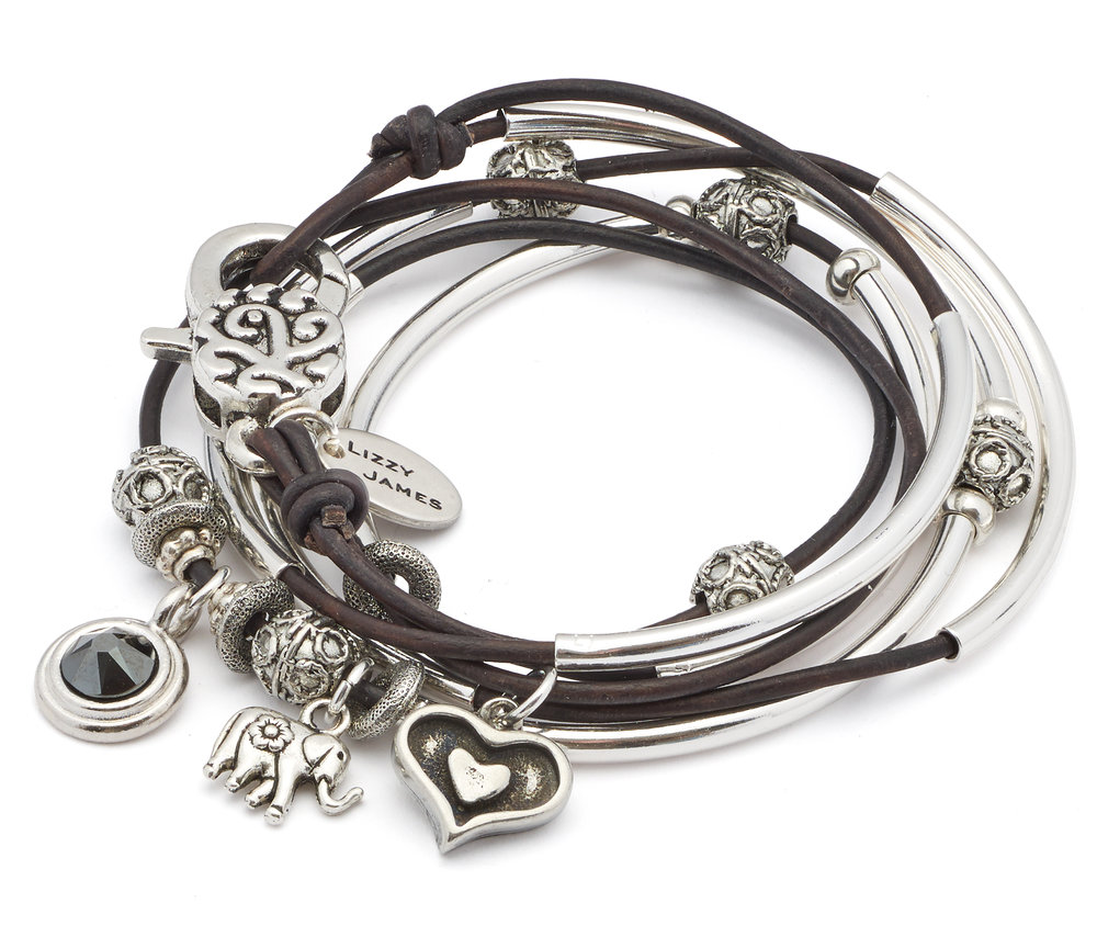 The beautiful  June wrap bracelet with Charm Trio .